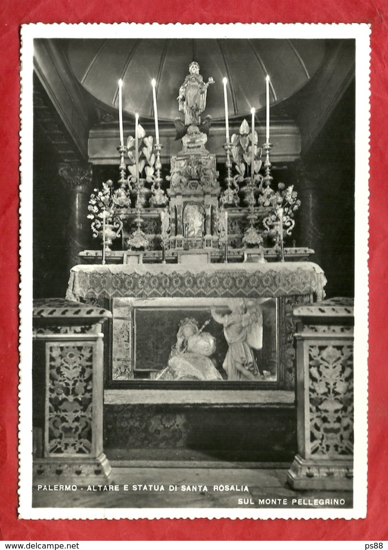 PS88---PALERMO---ALTARE E STATUA DI SANTA ROSALIA----CARTOLINA LUCIDA VIAGGIATA 1957 - Palermo