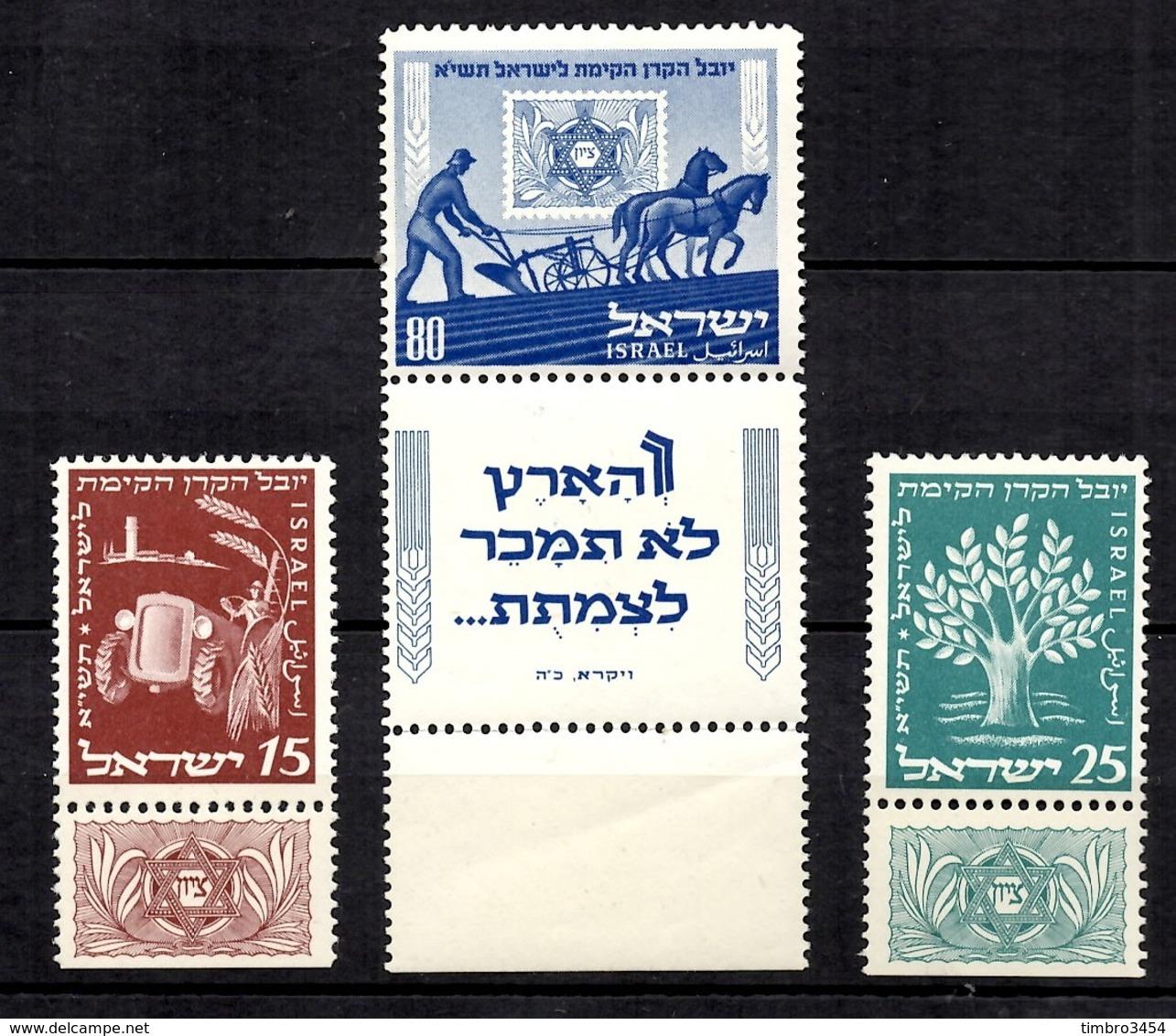 Israël YT N° 46/48 Avec Tabs Neufs ** MNH. TB. A Saisir! - Neufs (avec Tabs)