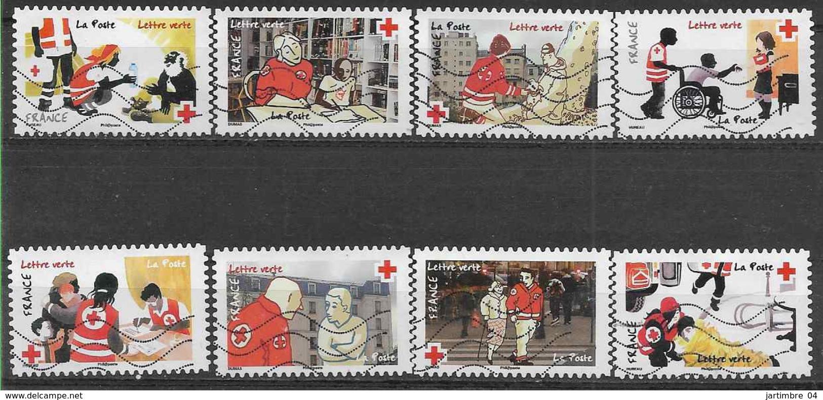 2016 FRANCE Adhesifs 1270-77 Oblitérés, Croix-rouge, Série Complète - Adhesive Stamps