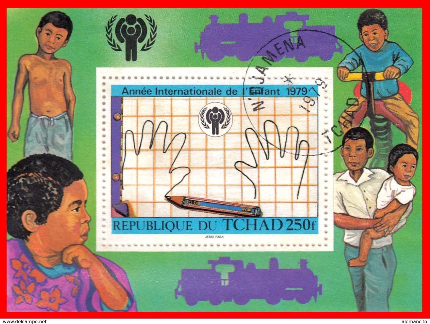 REPUBLICA DU TCHAD HOJITA AÑO INTERNACIONAL DEL NIÑO 1979 - Repubblica Centroafricana