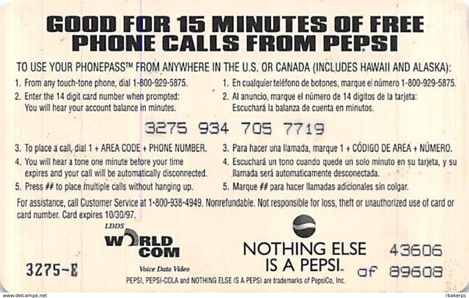 Pepsi / WorldCom PrePaid Phone Card 15 Minutes - Advertising
