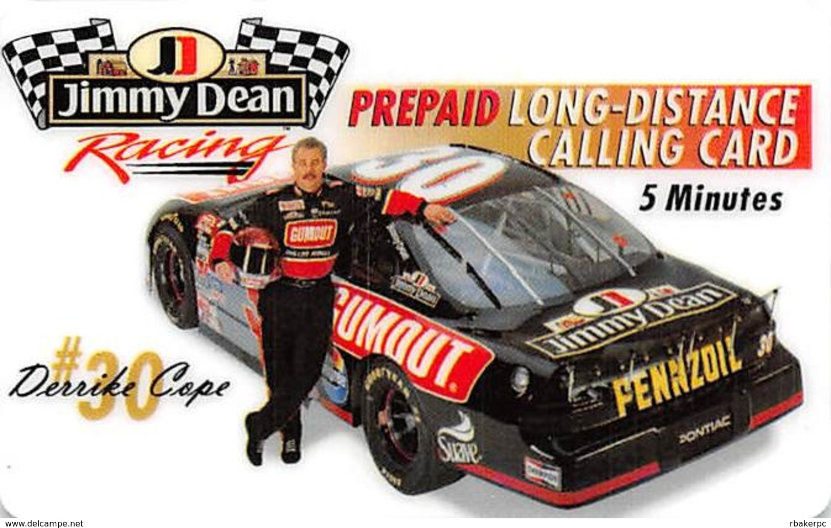 Jimmy Dean Racing Prepaid Long-Distance Calling Card - Cars