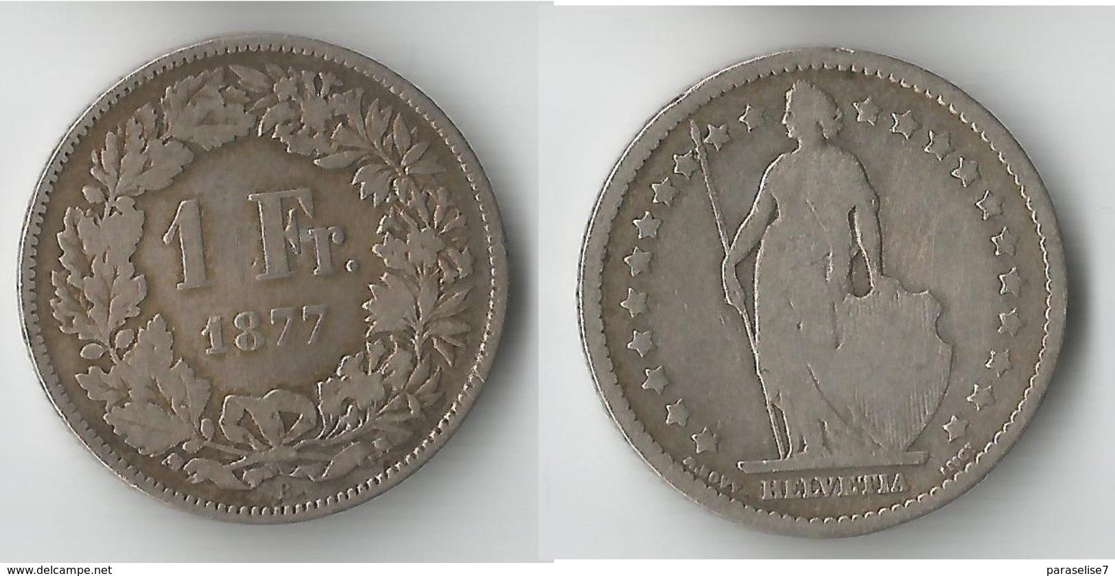 SUISSE 1 FRANC 1877 ARGENT - Suisse
