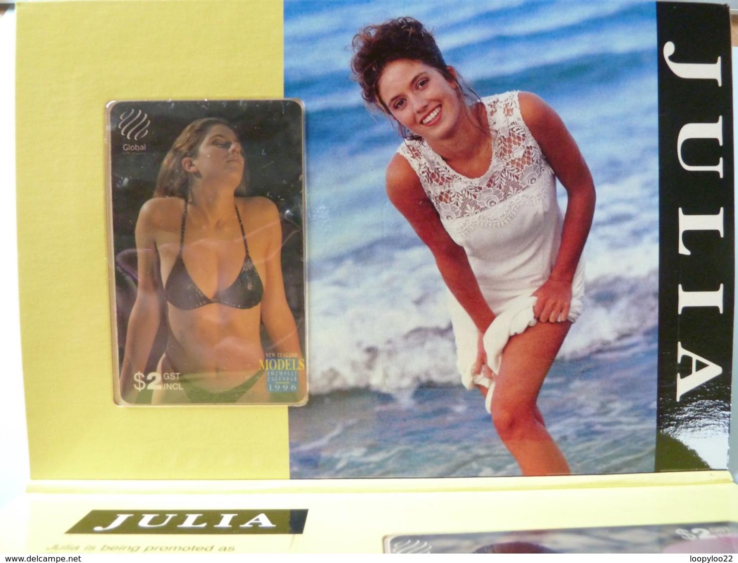 New Zealand - Global - $2 - 1996 Swimsuit Calendar - Julia - Set Of 2 - 1500ex - Mint In Folder - New Zealand