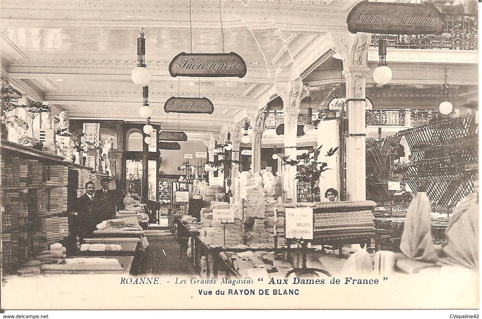 """ROANNE (42) Les Grands Magasins """"AUX DAMES DE FRANCE"""" - Vue Du RAYON DE BLANC - Roanne"""