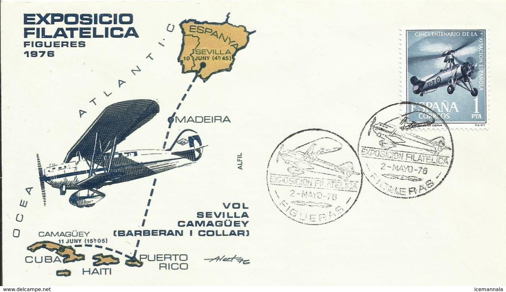 ESPAÑA  SOBRE CONMEMORATIVO  EXPOSICION FILATELICA FIGUERAS 1976 - 1931-Hoy: 2ª República - ... Juan Carlos I