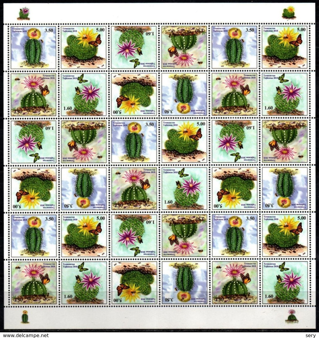 Tajikistan 2018 Full Sheet MNH Cactuses Cactus Flowers Flower Fleurs Fleur - Cactus