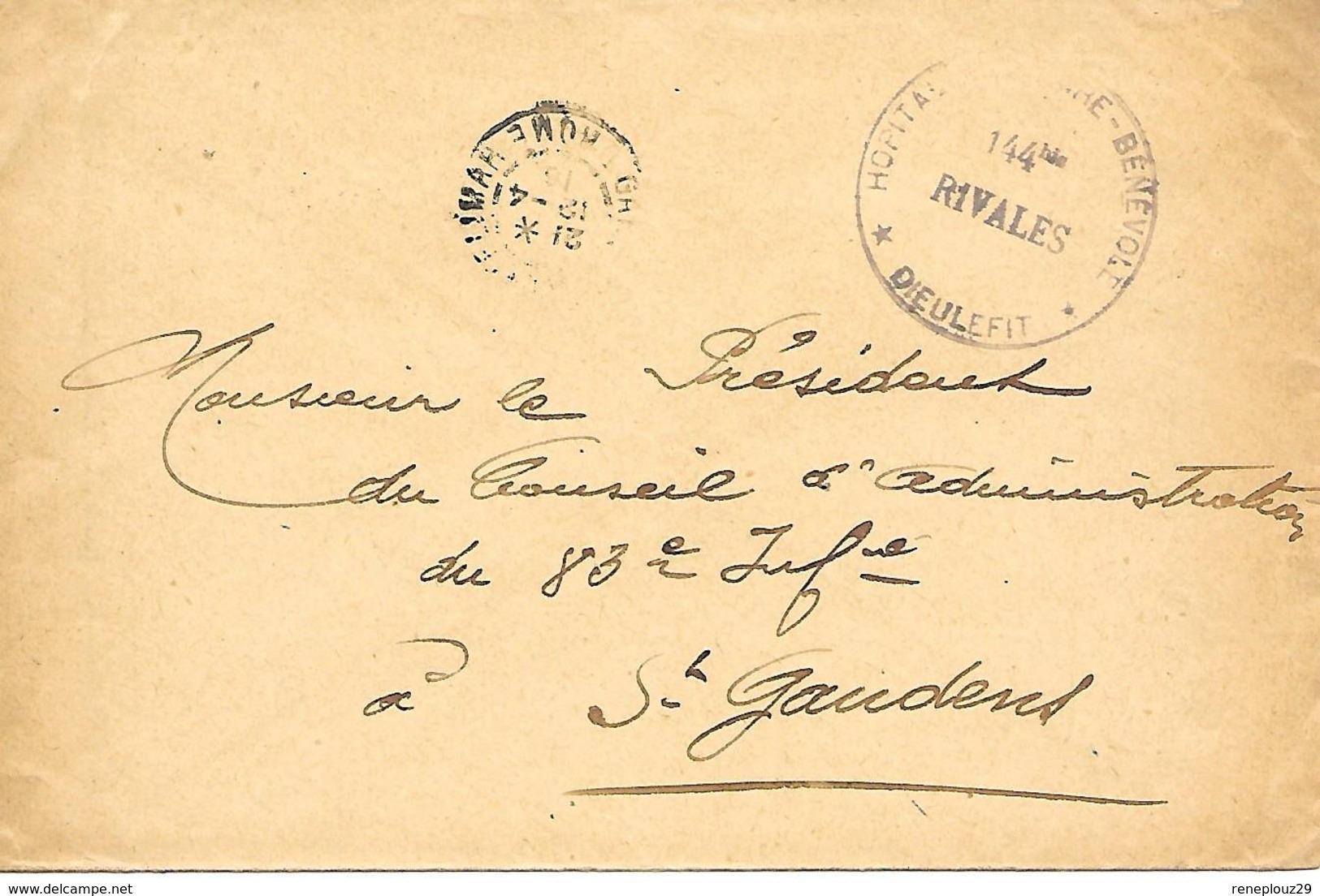 26-cachet Hôpital Militaire Bénévole N°144 Bis Rivales à Dieulefit Sur Lettre De 1916 - Cachet Rare - Marcophilie (Lettres)