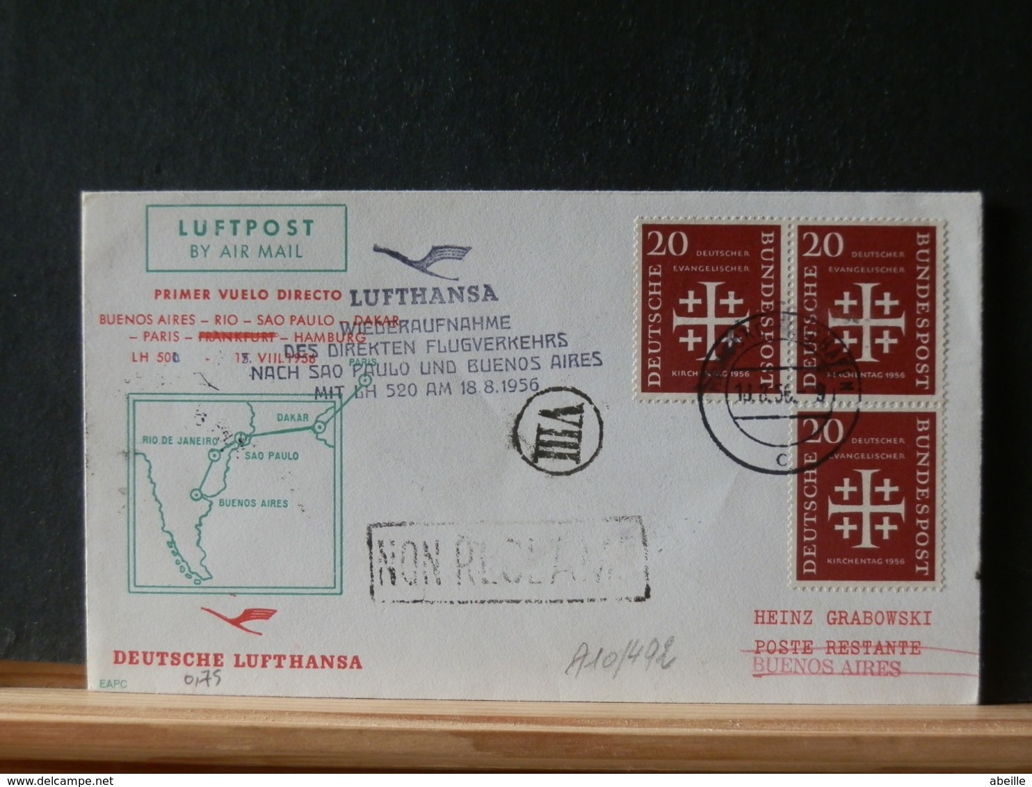 A10/492  DOC.   ALLEMAGNE    1956  1° LUFTHANSA 1956 - Briefe U. Dokumente