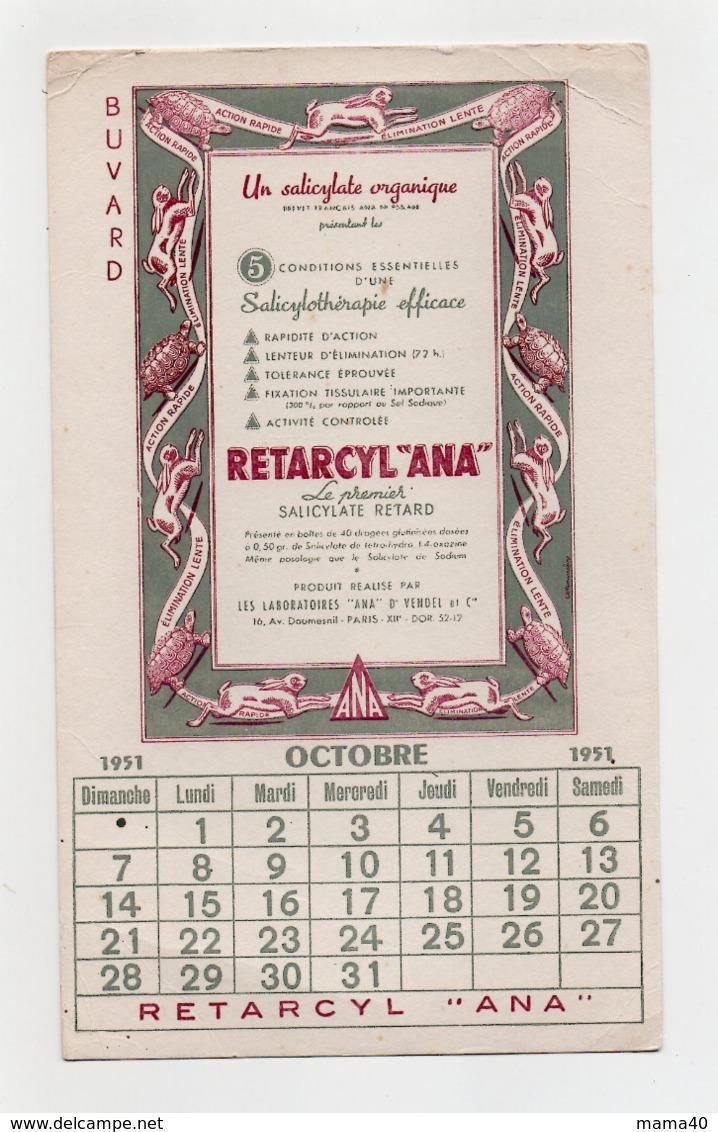 "BUVARD - RETARCYL ""ANA"" - SALICYLATE RETARD - CALENDRIER OCTOBRE 1951 - Produits Pharmaceutiques"