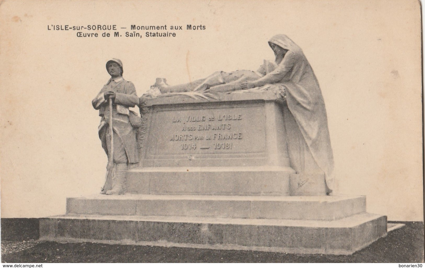 CPA  84 L'ISLE SUR SORGUE MONUMENT AUX MORTS SAIN STATUAIRE - L'Isle Sur Sorgue