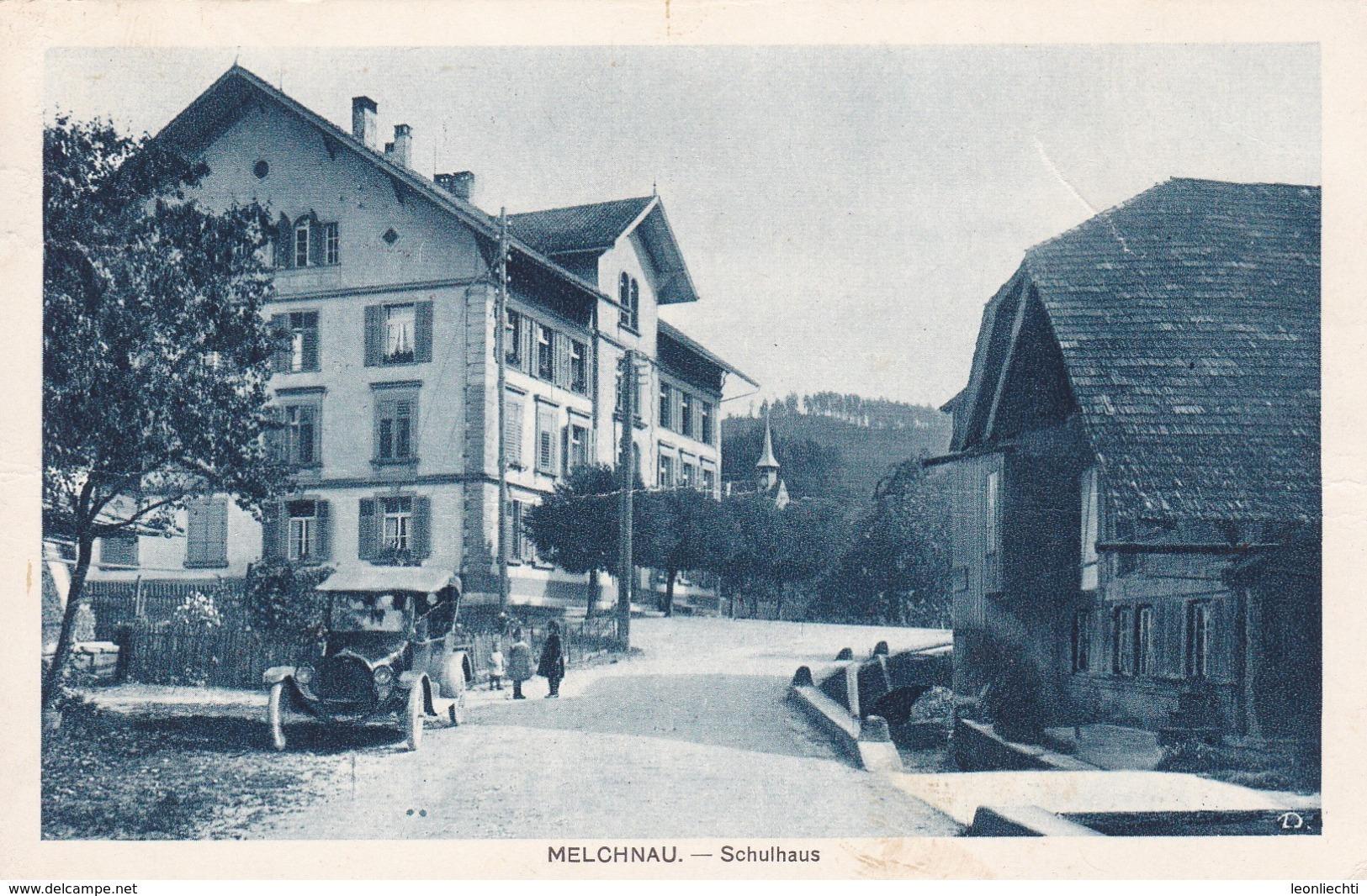 Melchnau. Schulhaus ( Waagrecht Mittig Leicht Gebogen ) - BE Berne