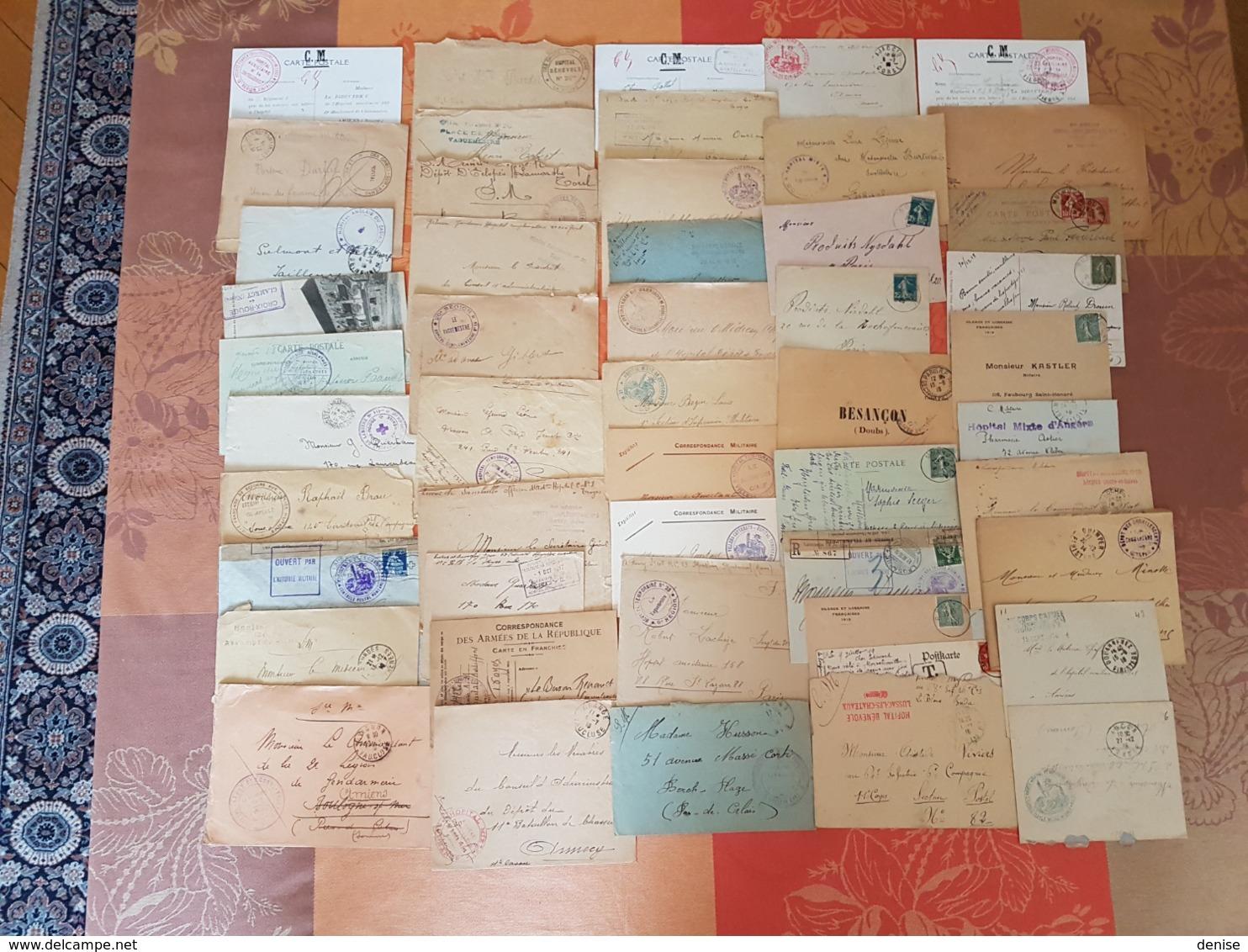 France - Lot De Lettres Et Cartes - Guerre 14-18 - PLUS DE 600 PIECES - DEPART 1 EURO - Marcophilie (Lettres)