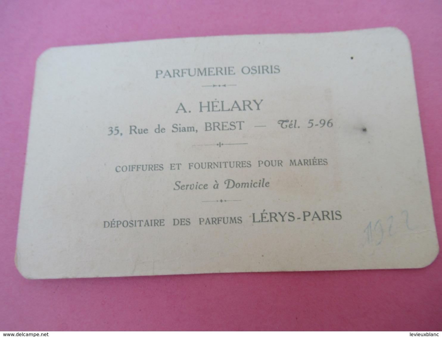 Carte Publicitaire Parfumée/Parfum Belle Jolie/ Lérys Paris/Parfumerie OSIRIS/Hélary/Rue De Siam/ BREST/1922   PARF202 - Anciennes (jusque 1960)