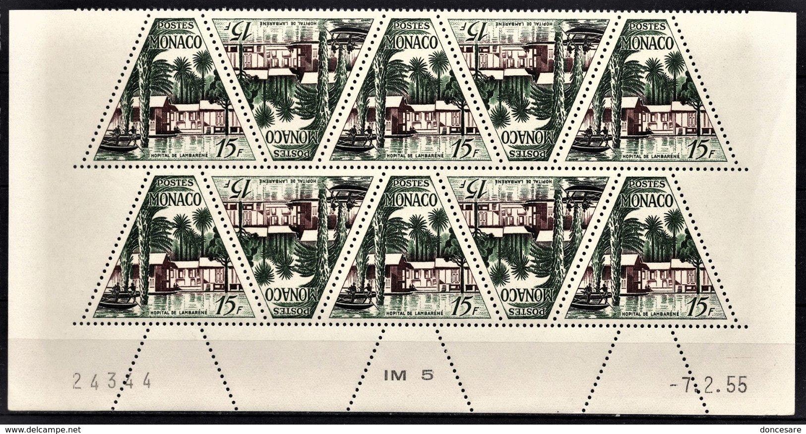 MONACO 1955 - BLOC DE 10 TP / N° 414- NEUFS ** COIN DE FEUILLE / DATE - Monaco