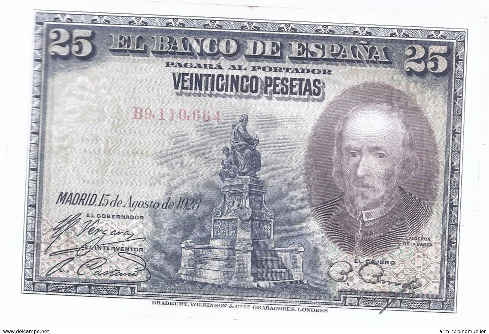 AK-div.28- 206  - Spanien  25. Peseten - 15,8,1928  Nr. B9.110,664 - [ 1] …-1931 : Eerste Biljeten (Banco De España)