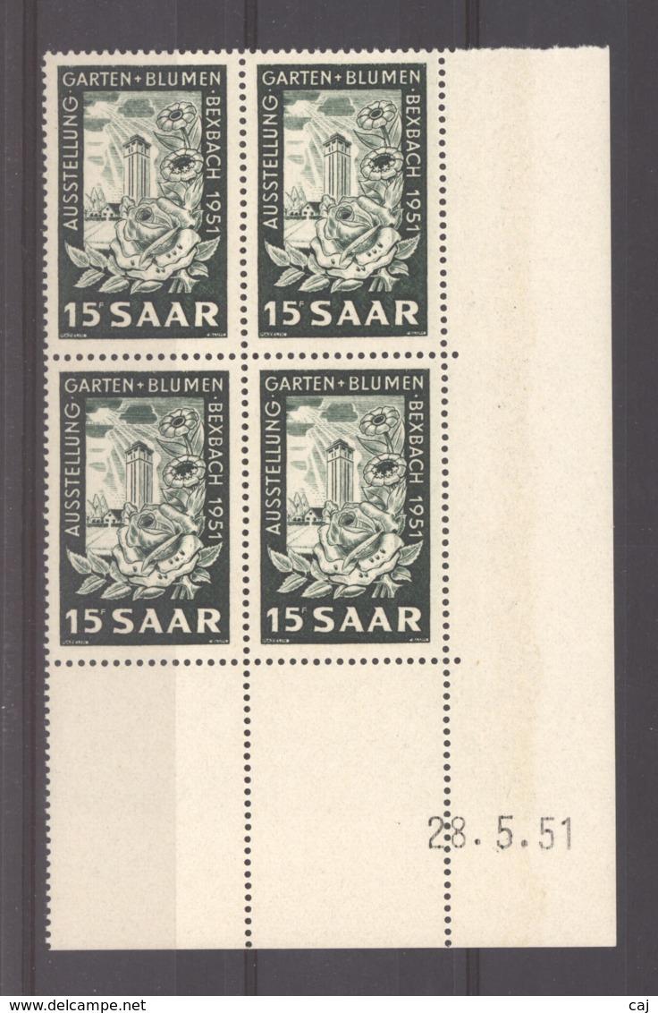 07152  -  Sarre  :  Mi  307 Br  ** Coin Daté Bloc De 4 - 1947-56 Occupation Alliée