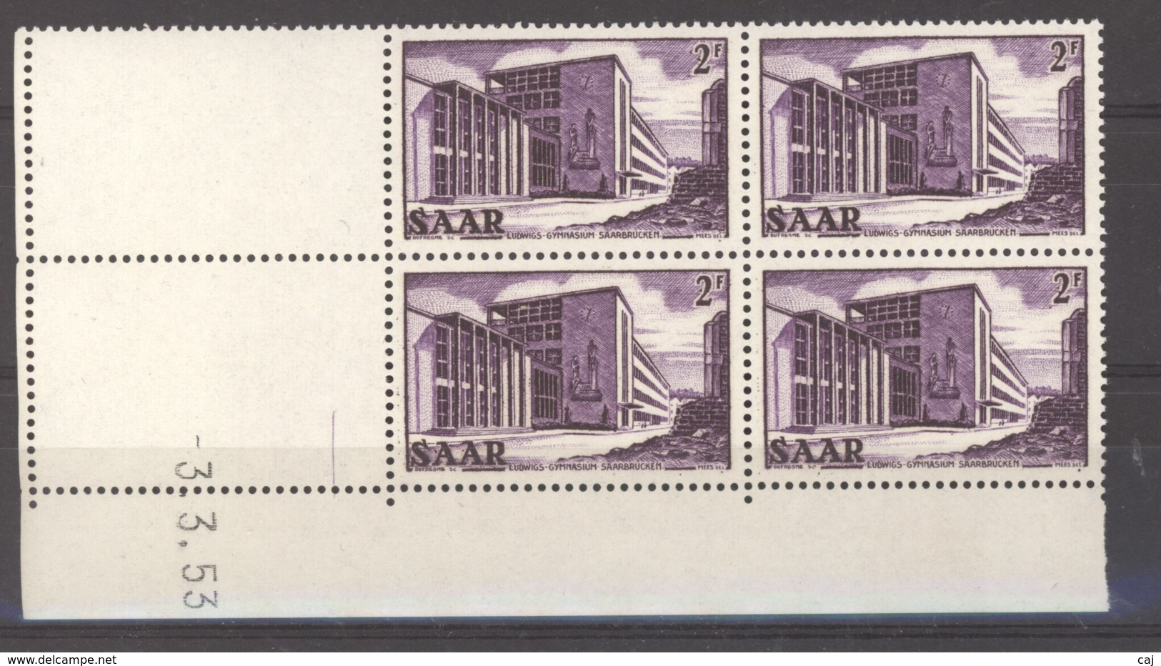 07154  -  Sarre  :  Mi  320 Br  ** Coin Daté Bloc De 4 - 1947-56 Allierte Besetzung
