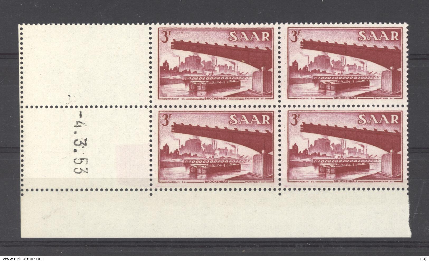 07155  -  Sarre  :  Mi  321 Br  ** Coin Daté Bloc De 4 - 1947-56 Occupation Alliée