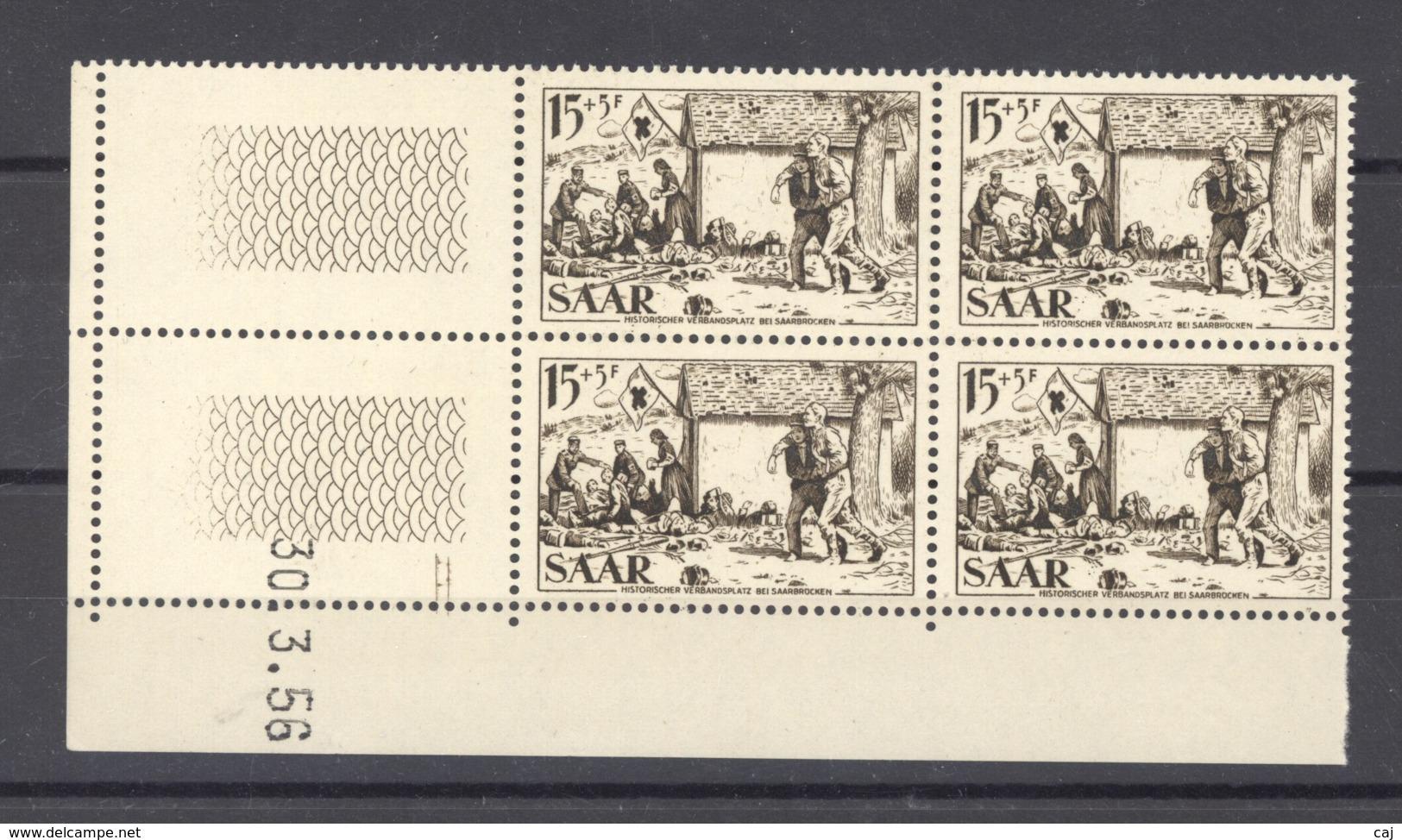 07178  -  Sarre  :  Mi  370 Br  ** Coin Daté Bloc De 4 - 1947-56 Occupation Alliée