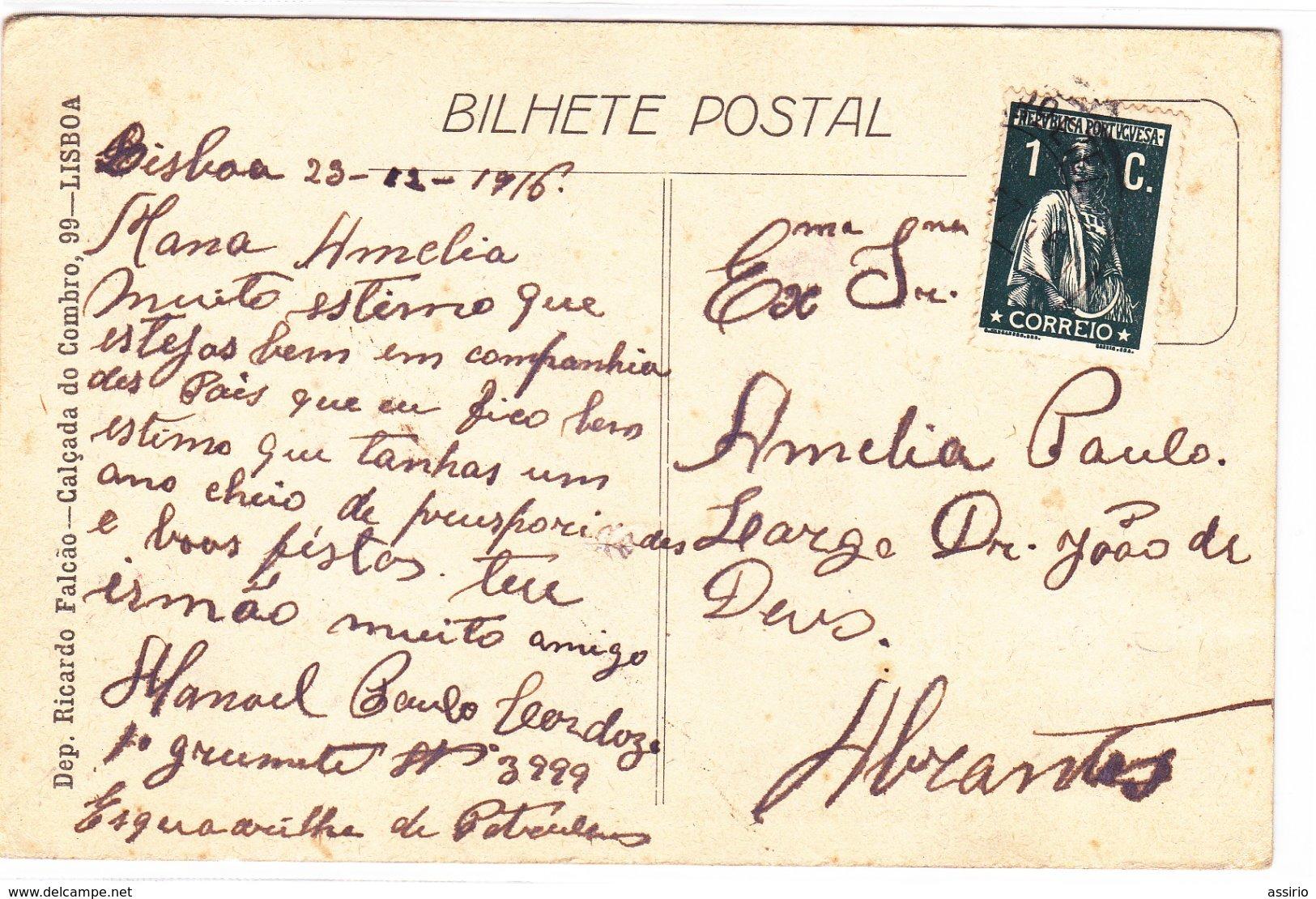 Portugal -postal  -Castelo De Almorol -Tancos  -nº 15  Circulou De Lisboa Para Abrantes - Santarem