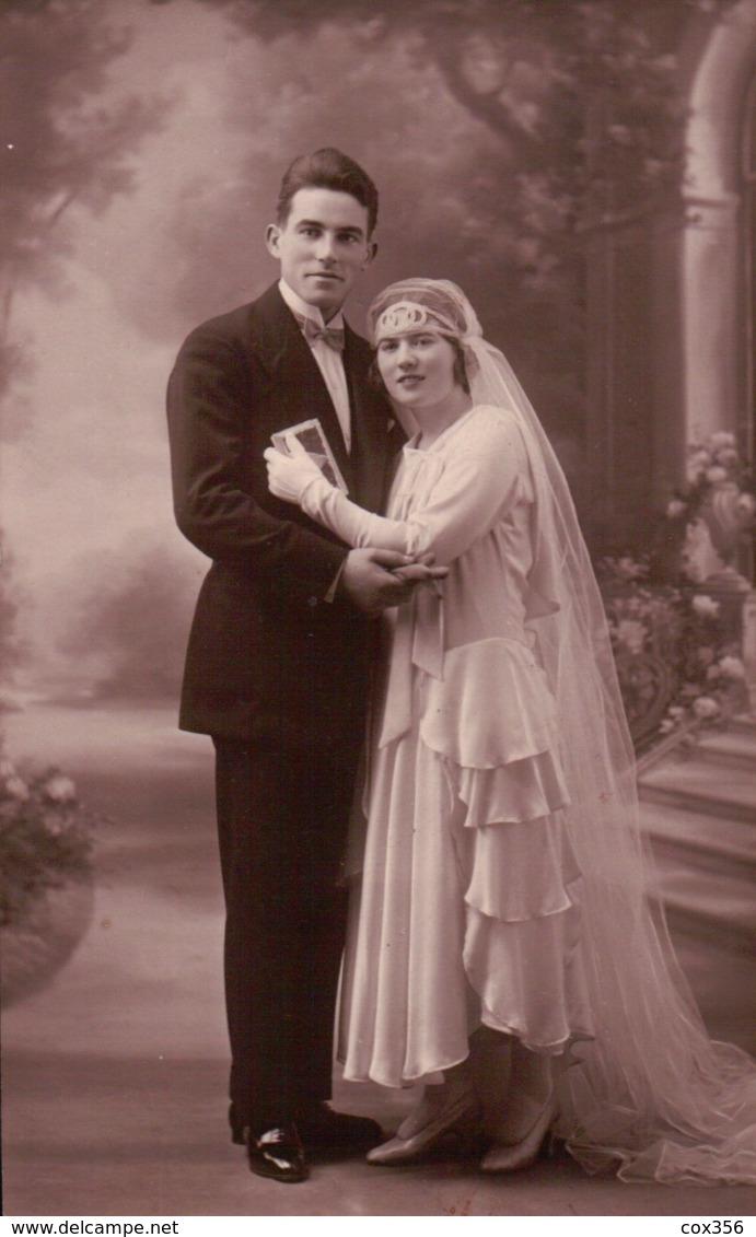 CPA  CARTE PHOTO Mariage Mode Art Nouveau - Noces
