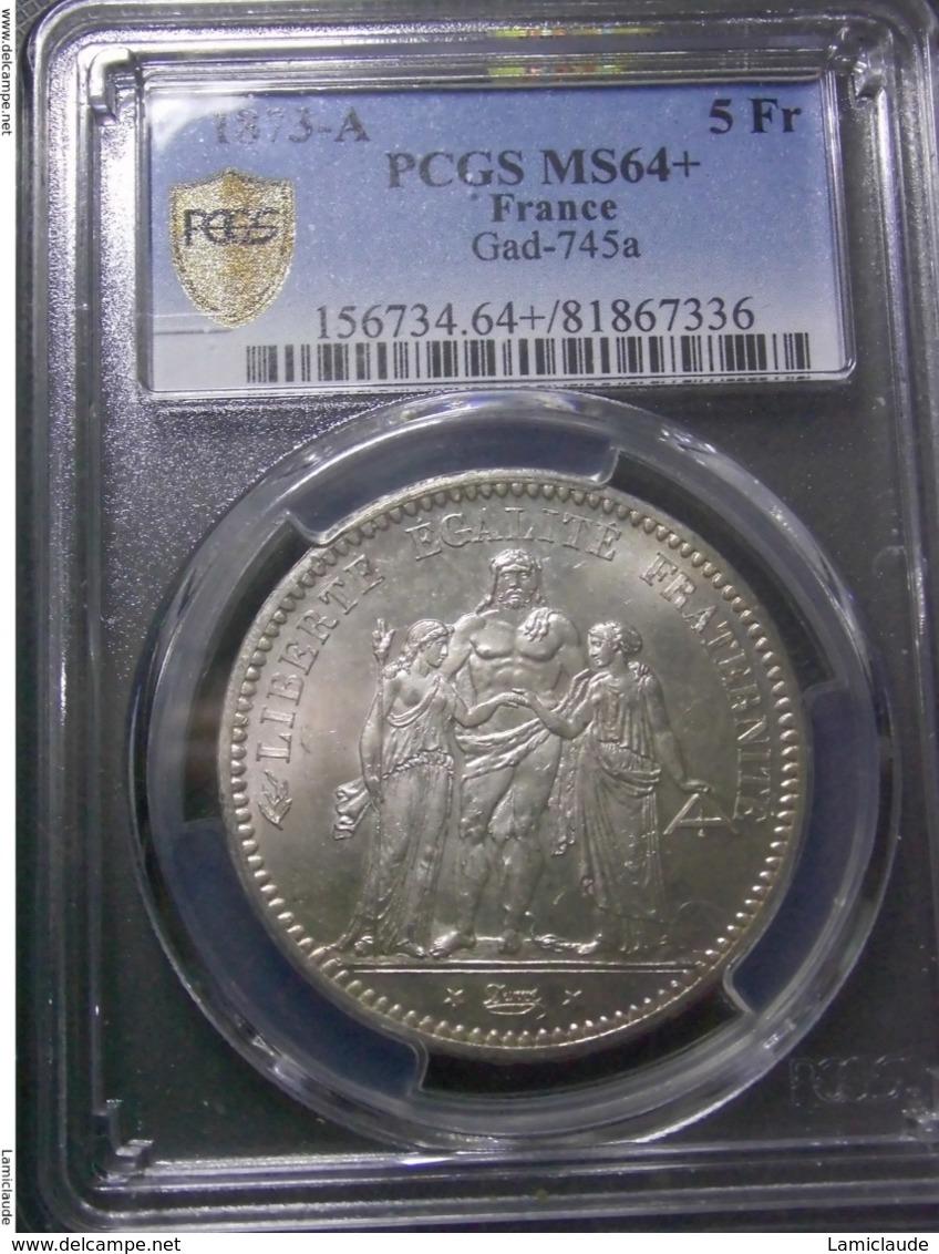 5 FRANCS 1873 A FRANCE PCGS MS64 + - France