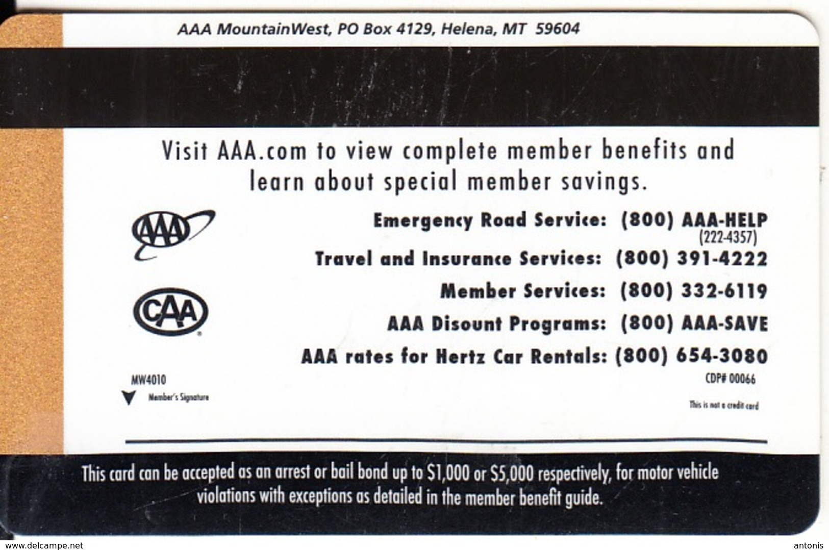 USA - AAA MountainWest, Member Card, Exp.date 15/02/10, Used - Unclassified