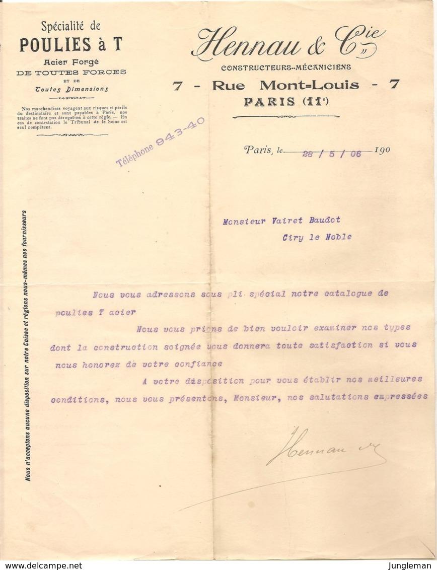 Vieux Papier - Paris - 75 - Spécialité De Poulies à T - Acier Forgé - Hennau & Cie - Constructeurs - Mai 1906 - Zonder Classificatie