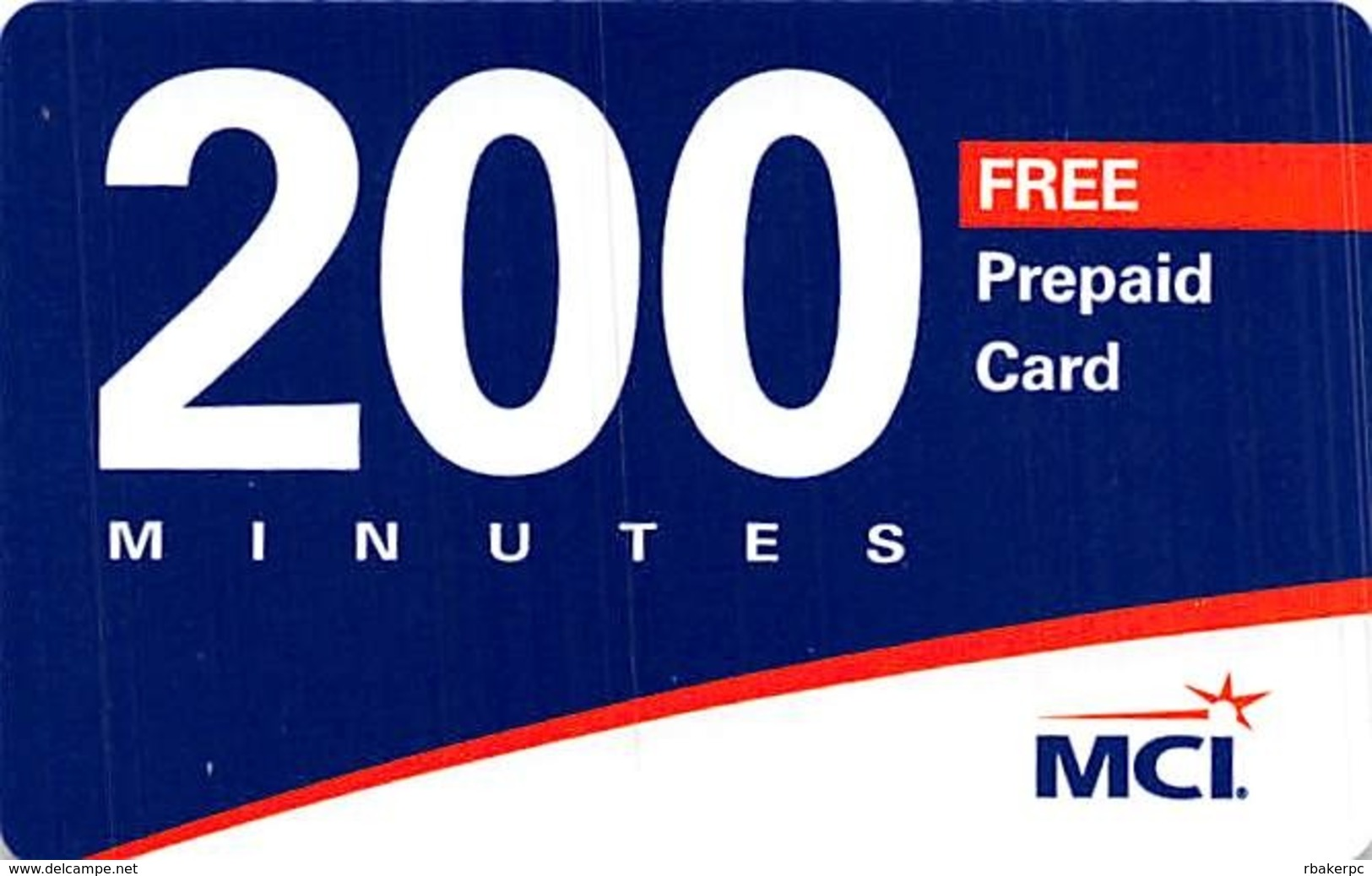 MCI 200 Minutes Free Prepaid Card / Phone Card - Phonecards