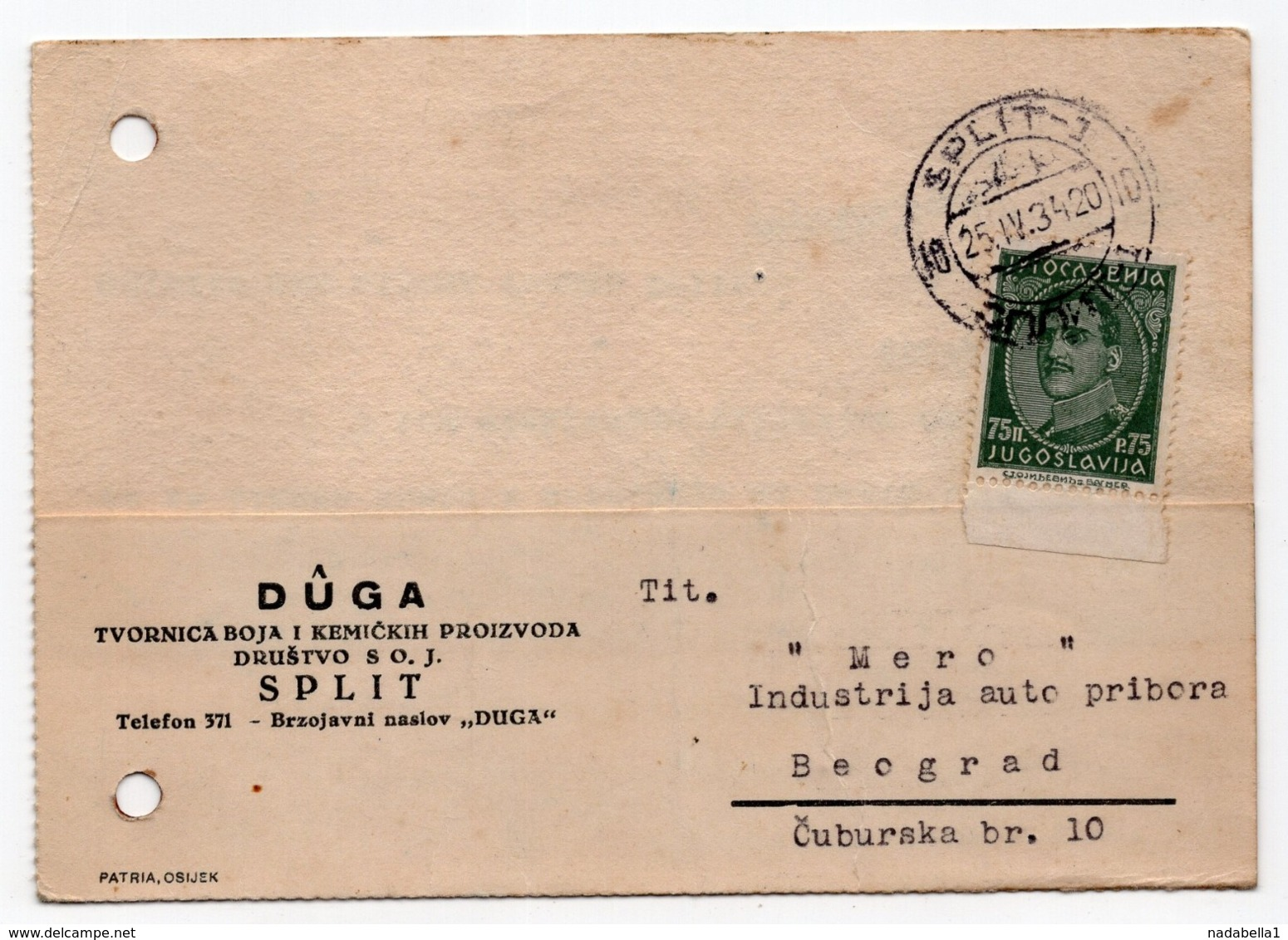 1934 YUGOSLAVIA, CROATIA, SPLIT TO BELGRADE, CORRESPONDENCE CARD, DUGA, CHEMICAL INDUSTRY - 1931-1941 Kingdom Of Yugoslavia