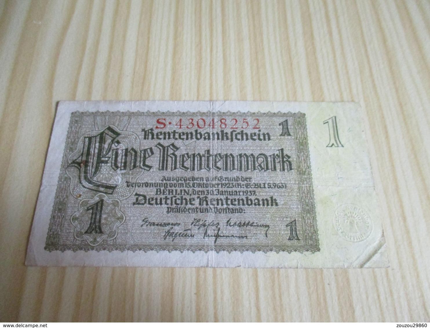 Allemagne.Billet 1 Rentenmark 30/01/1937. - 1933-1945: Drittes Reich