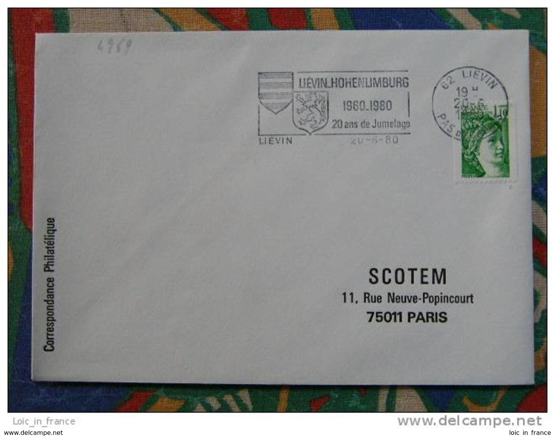 Flamme Lievin Jumelage 1980 - Dpt 62 Pas De Calais - Flamme Sur Lettre Postmark On Cover - Mechanische Stempels (reclame)