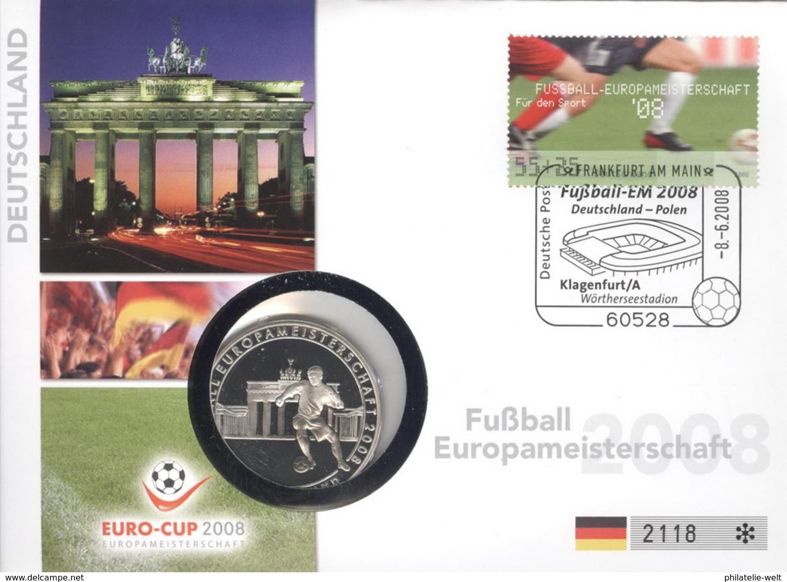 BRD Numisbrief Fußball-EM 2008 Mit Silbermedaille 40mm Ag500 PP - [ 7] 1949-…: BRD