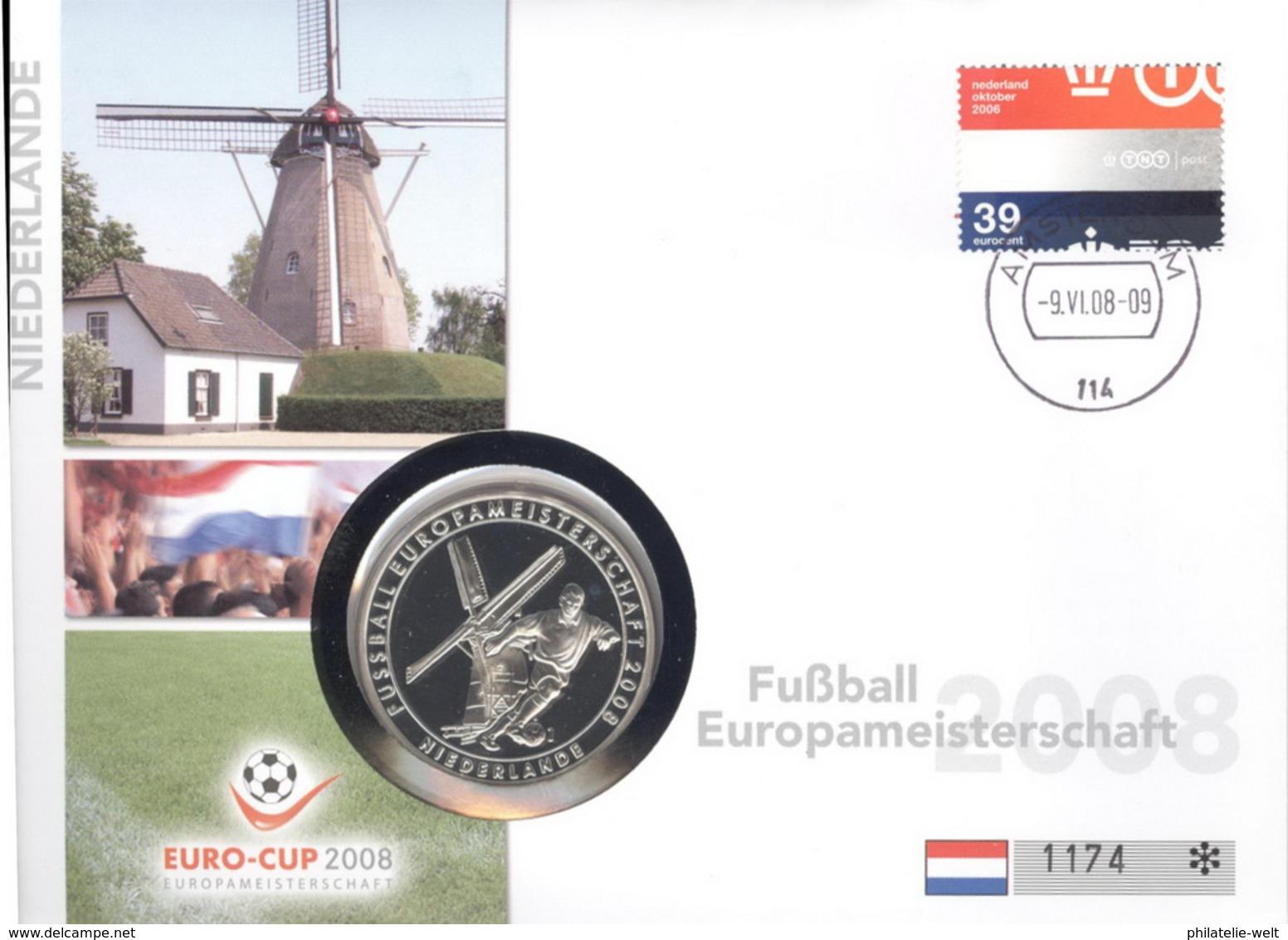 Niederlande Numisbrief Fußball-EM 2008 Mit Silbermedaille 40mm Ag500 PP - Niederlande