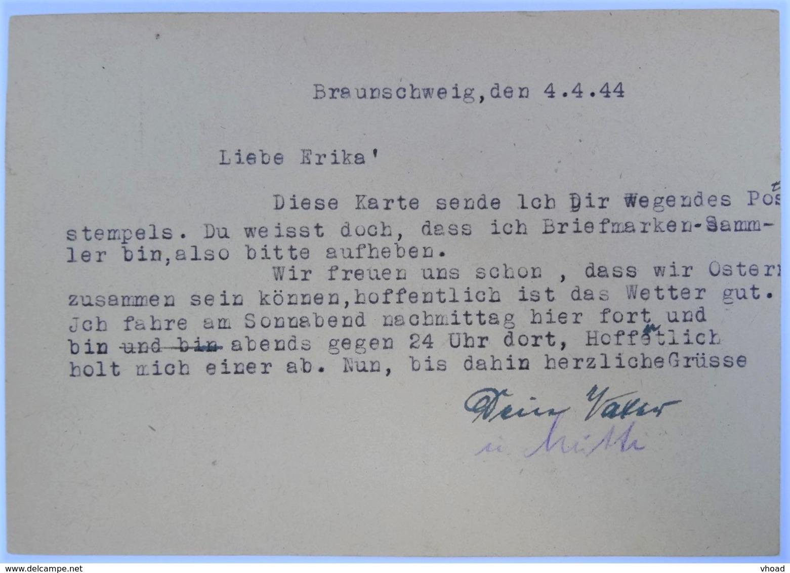 """04.04.1944 (!!!) DR Postkarte Braunschweig Nach Braunlage, Ganzsache P 312/08, Freistempel """"Ortsangabe Postleitzahl"""""""" - Deutschland"""