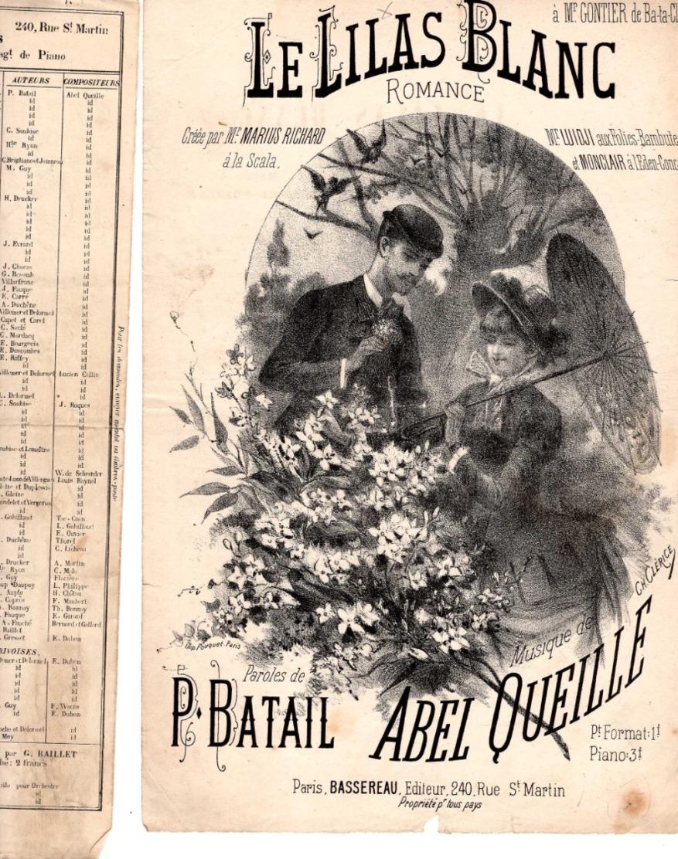 CAF CONC MARIUS RICHARD LUIDJI MONCLAIR PARTITION XIX LE LILAS BLANC BATAIL ABEL QUEILLE 1882 ILL CLÉRICE - Autres