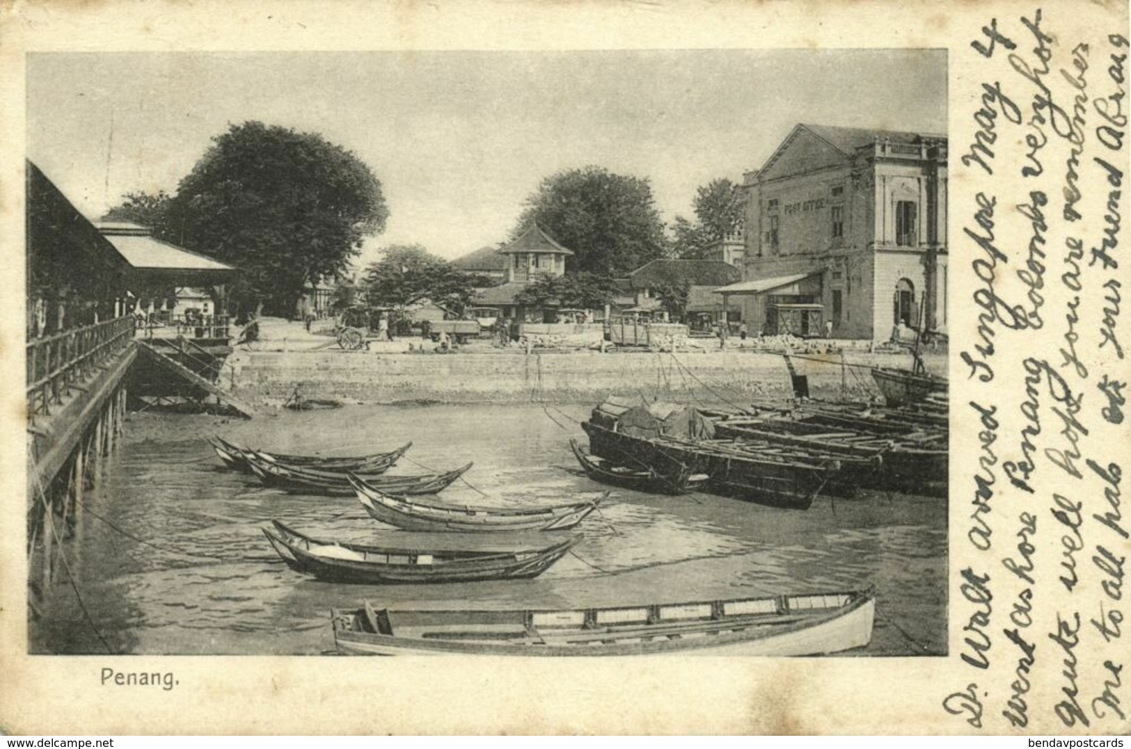 Malay Malaysia, PENANG, Harbour Scene With Post Office (1906) Postcard - Malaysia
