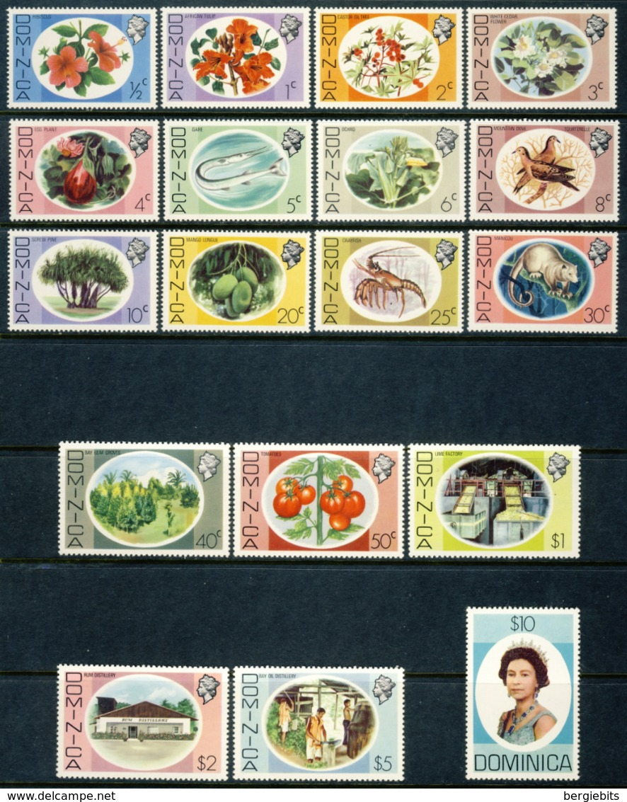 """1975 Dominica MNH OG Complete Set Of 18 Stamps """"Flora & Fauna"""" Teriffic Set Yt.447/464 Cat. 45 Euro - Dominica (...-1978)"""