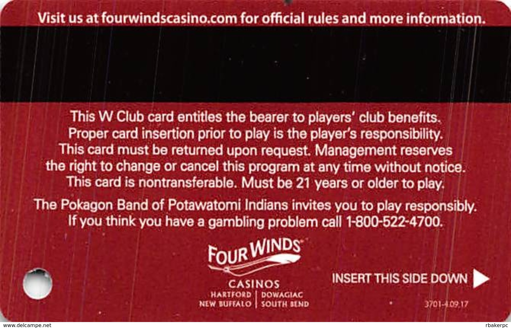 Four Winds Casino - Michigan - Slot Card - Players Club - 4 Locations In Reverse Logo - Casino Cards
