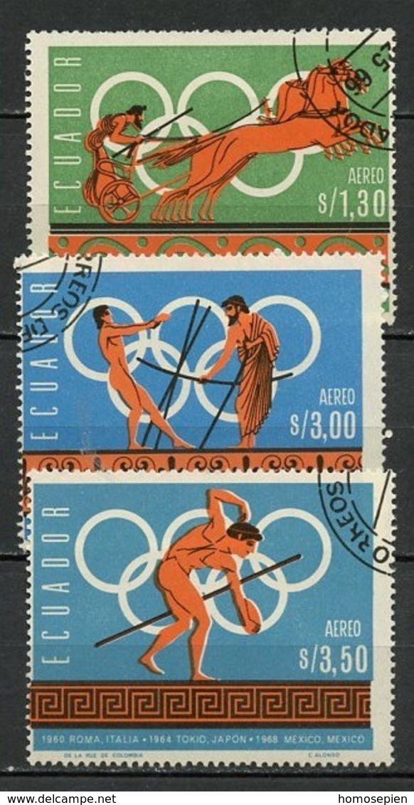 JO Mexico 1967 Equateur - Ecuador Y&T N°PA469 à 471 - Michel N°1265 à 1267 (o) - Prélude Aux JO De Mexico - Ete 1968: Mexico