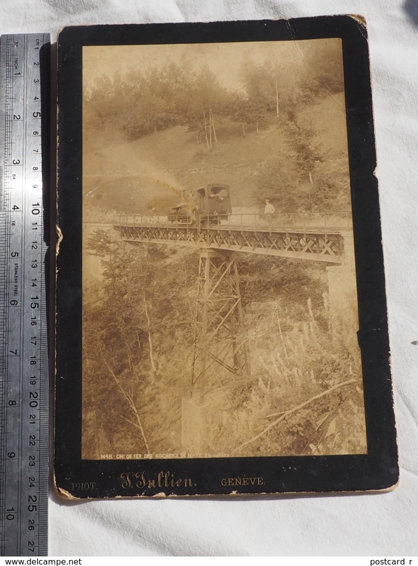 PHOTO  SUISSE. Chemin De Fer Des Rochers De Naye ANCIEN TRAIN VAPEUR SUR UN PONT Ph. Jullen Geneve - Trains
