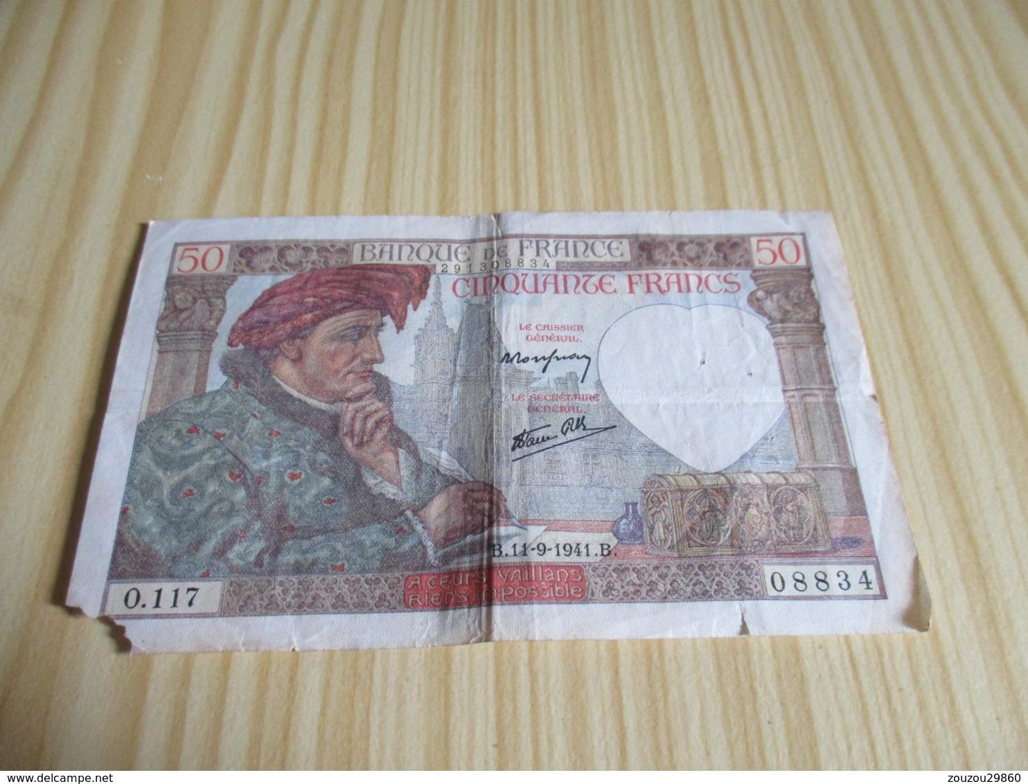 France.Billet 50 Francs Jacques Coeur 11/091941. - 1871-1952 Anciens Francs Circulés Au XXème