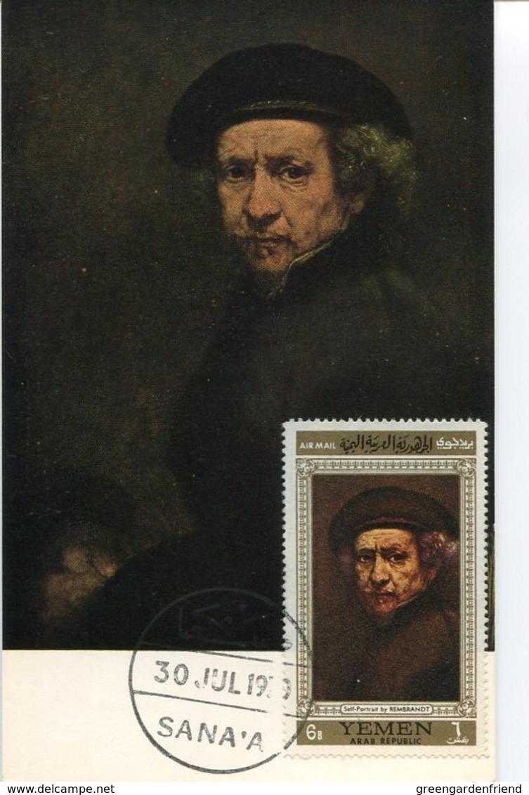 47127 Yemen, Maximum  1970 Painting Of Rembrandt, Self Portrait - Rembrandt