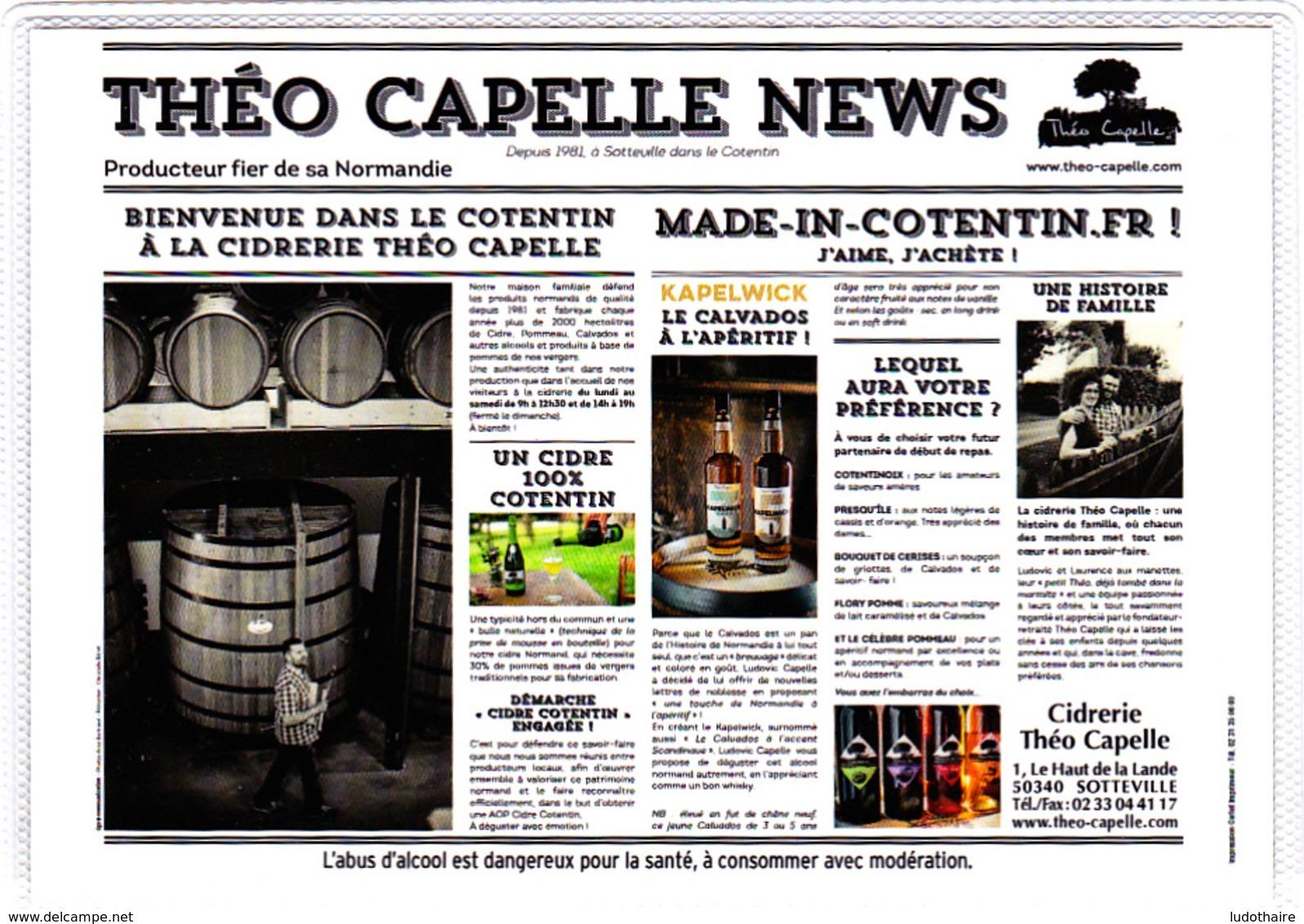 Carte (totalement Imprimée) Cidrerie, Distillerie Théo Capelle, 50 Sotteville, Cidre, Calvados, Manche, Cotentin, Âne - Métiers