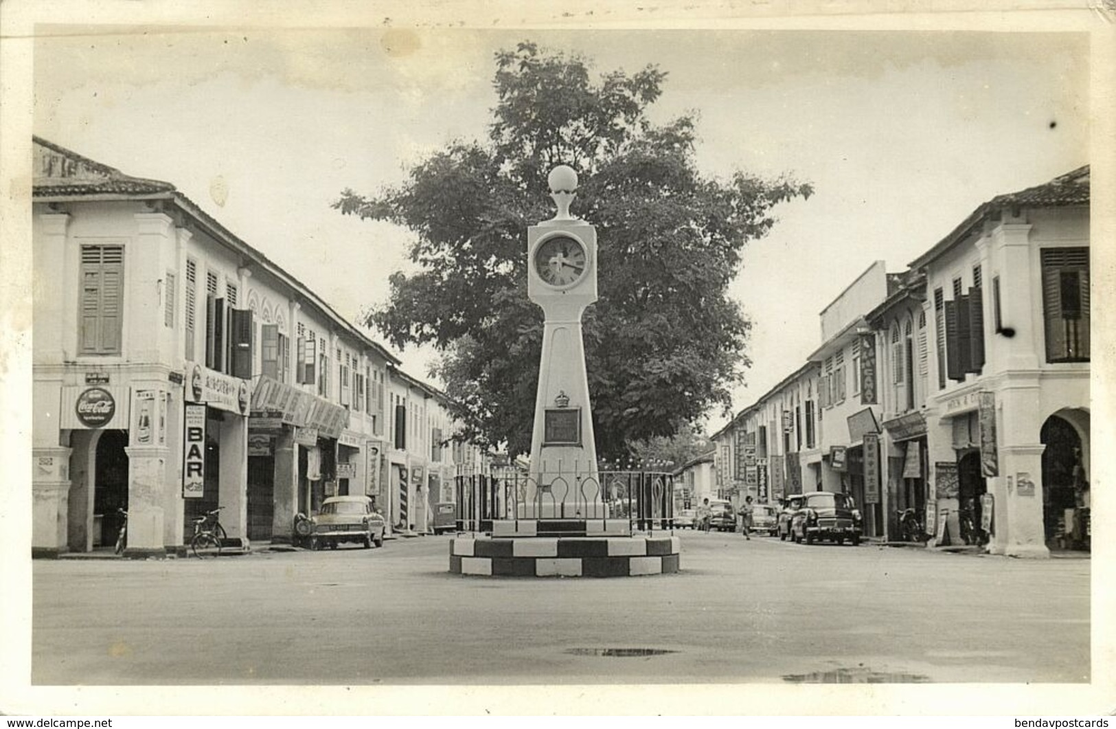 Malay Malaysia, PORT DICKSON, Clock Tower, Cars, Coca Cola (1950s) Real Photo - Malaysia