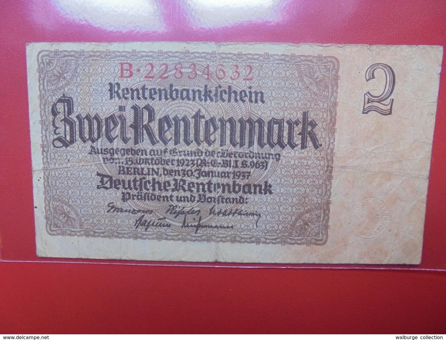 3eme REICH 2 MARK 1937 (B.1) - [ 4] 1933-1945 : Terzo  Reich
