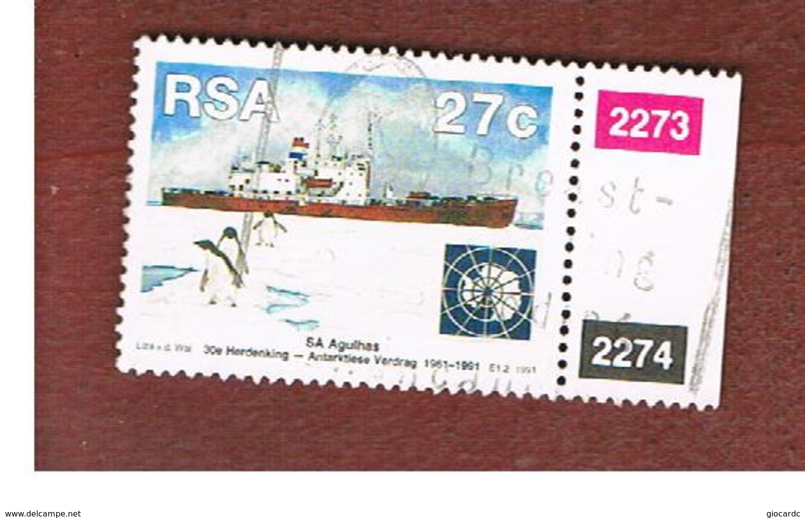 SUD AFRICA (SOUTH AFRICA) - SG 740  - 1991 ANTARCTIC TREATY: SHIP AGULHAS (WITH LABEL)  - USED - Usati