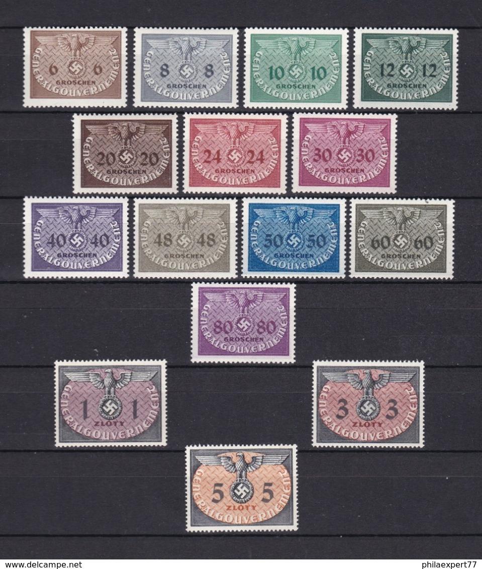 Generalgouverment - 1940 - Dienstmarken -  Michel Nr. 1/15 - Postfrisch - 60 Euro - Occupation 1938-45