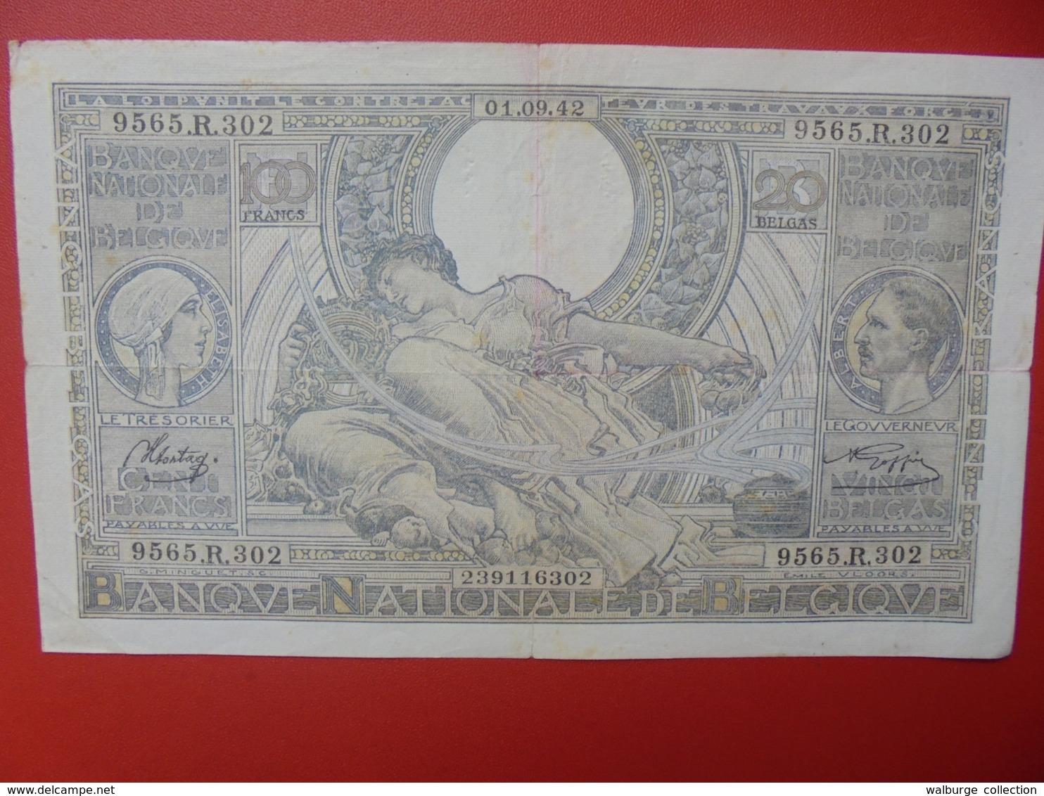 BELGIQUE 100 FRANCS 1-9-42 CIRCULER (B.7) - 100 Frank